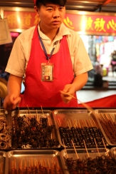 So many insects at Wangfujing Night Market! My dad tried a scorpion, but was warned by our guide not to try any other bugs!